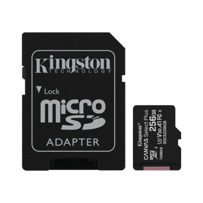 MicroSD KINGSTON 256GB c/Adap Clase 10 UHS-I (U1) 100MB/s Canvas Plus (8710)