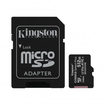 MicroSD KINGSTON 512GB c/Adap Clase 10 UHS-I (U1) 100MB/s Canvas Plus